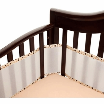 Breathable Baby Fashion Trim Bumper in Ecru with Brown Bubbles