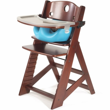 Keekaroo Height Right High Chair & Infant Insert - Mahogany/Aqua