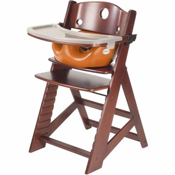 Keekaroo Height Right High Chair & Infant Insert - Mahogany/Pumpkin