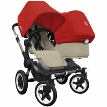 Bugaboo Donkey Duo Stroller in Sand/Red