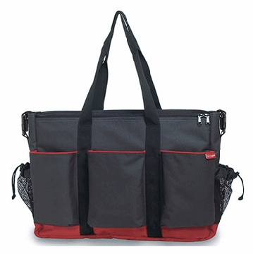 Skip Hop Duo Double Canvas Diaper Bag in Charcoal
