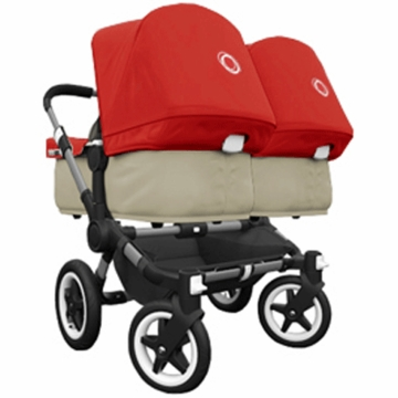 Bugaboo Donkey Twin Stroller in Sand/Red