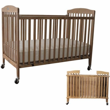 La Baby Full Size Folding Wood Crib in Natural