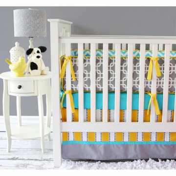 Caden Lane Bright Baby Gray 2 Piece Crib Set (Limited Edition)