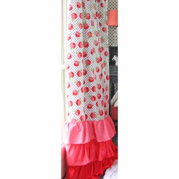 Caden Lane Girly Coral Rose Ruffle Curtain Panels (Limited Edition)