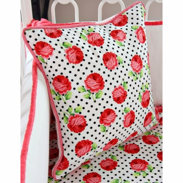 Caden Lane Girly Coral Rose Square Pillow (Limited Edition)
