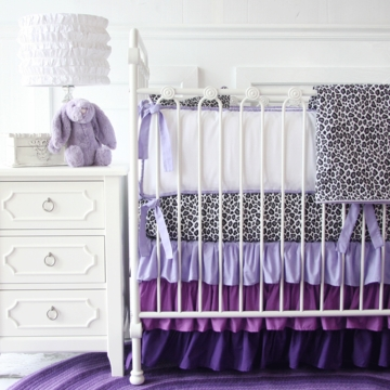 Caden Lane Girly Purple Leopard Ruffle 2 Piece Crib Set (Limited Edition)