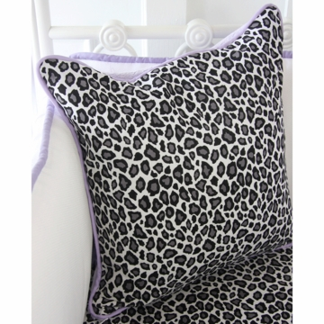 Caden Lane Girly Purple Leopard Square Pillow (Limited Edition)