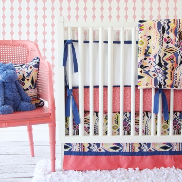 Caden Lane Ikat Coral Girl 2 Piece Crib Set (Limited Edition)