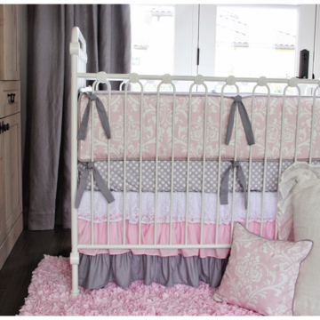Caden Lane Sweet Lace Damask 2 Piece Crib Set (Limited Edition)