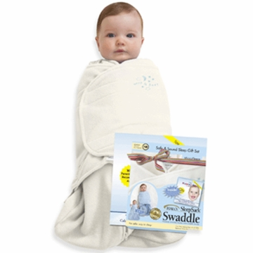 Halo Sleep Sack Microfleece Swaddle in Cream and Happiest Baby on The Block CD Gift Set