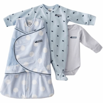 Halo SleepSack Swaddle Wearable Chenille Blanket 3 Piece Set in Blue Dot