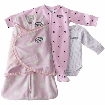 Halo SleepSack Swaddle Wearable Chenille Blanket 3 Piece Set in Pink Dot
