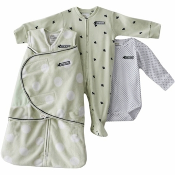 Halo SleepSack Swaddle Wearable Chenille Blanket 3 Piece Set in Sage Dot