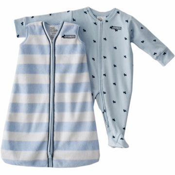 Halo SleepSack Wearable Blanket & Footed Chenille Stripe with Scotty Dog Print Set in Blue 3-6 Months