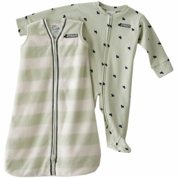 Halo SleepSack Wearable Blanket & Footed Chenille Stripe with Scotty Dog Print Set in Green 6-9 Months