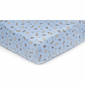 Carter's Easy Fit Crib Printed Fitted Sheet - Blue Puppy