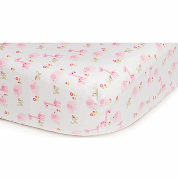 Carter's Easy Fit Crib Printed Fitted Sheet - Pink/Brown Jungle