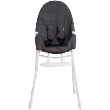 Bloom Nano Highchair with White Frame in Denim