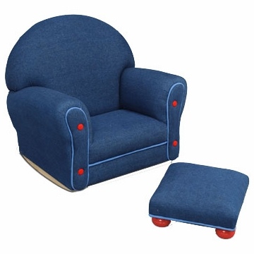 Kidkraft Blue Denim Chair and Ottoman