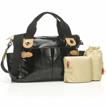 Storksak Kate Patent Diaper Bag in Black