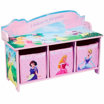 Disney Princess Toy Bench with Back and 3 Bins