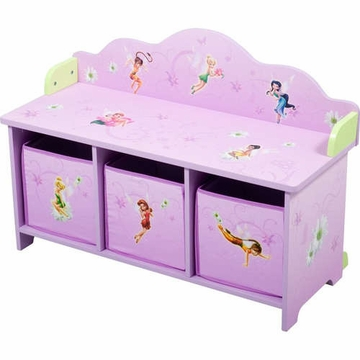 Disney TinkerBell Fairies Toy Bench with 3 Bins