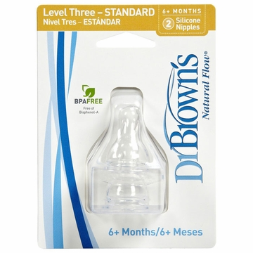Dr. Brown's Level-3 Standard Neck Nipple, 2-Pack