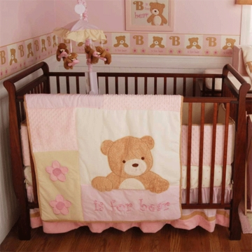 KidsLine B is for Bear Pink 4 Piece Baby Crib Bedding Set