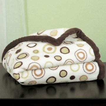 Carter's Boa Blanket in Ecru, Brown & Sage Circles