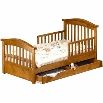 Sorelle Joel Solid Pine Toddler Bed - Oak on Pine