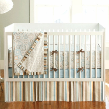JJ Cole Blue Bullseye 4-Piece Crib Bedding Set