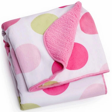 Carter's Velour Sherpa Blanket - Pink Dot