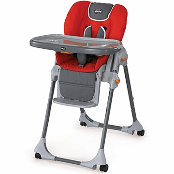 Chicco Polly Double-Pad Highchair in Fuego Red