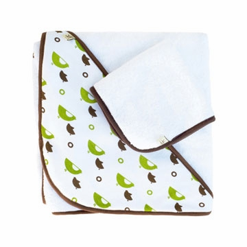 JJ Cole Hooded Towel Set - Green Birds