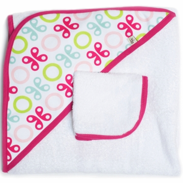 JJ Cole Hooded Towel Set - Pink Butterfly