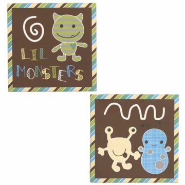 CoCaLo Peek A Boo Monsters 2 Piece Canvas Wall Art