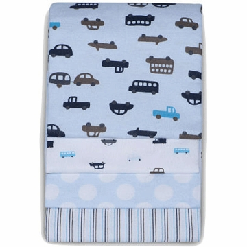 Carter's 4 Pack Wrap Me Up Receiving Blankets - Blue Car