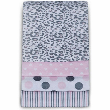 Carter's 4-Pack Receiving Blankets - Pink Cheetah