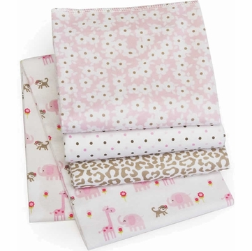 Carter's 4 Pack Wrap Me Up Receiving Blanket - Pink Jungle