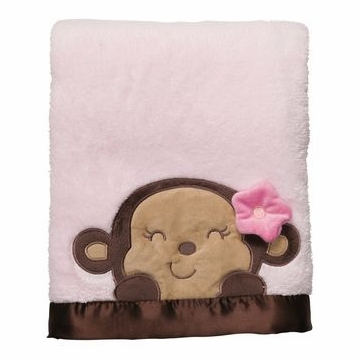 Carter's Boa Blanket - Pink Monkey Face