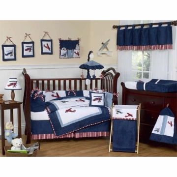 Sweet JoJo Designs Aviator 9 Piece Crib Bedding Set