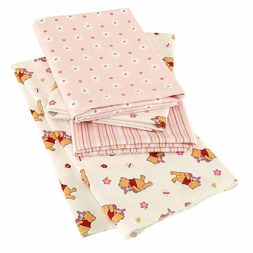 KidsLine Pooh Girl Receiving 4- Pack Blankets