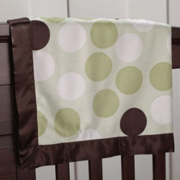 CoCaLo Graphic Sherpa Blanket in Green Brown Polka Dot