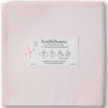 SwaddleDesigns Ultimate Receiving Blanket in Very Light Pink Circle on Circle with Pastel Pink Trim