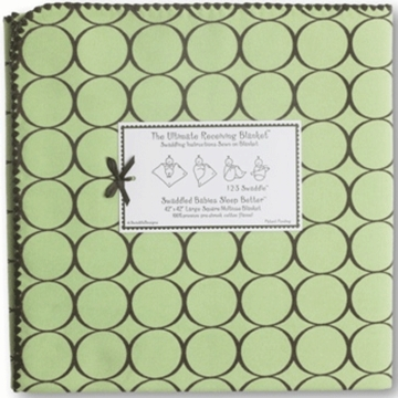 SwaddleDesigns Ultimate Receiving Blanket in Lime with Brown Mod Circles