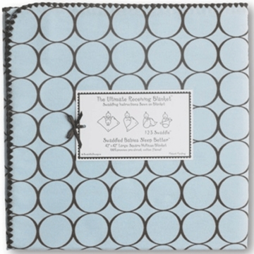 Swaddle Designs Ultimate Receiving Blanket Pastel Blue with Brown Mod Circles