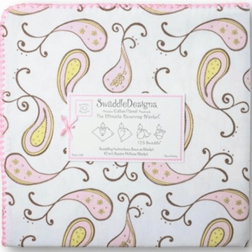 SwaddleDesigns Ultimate Receiving Blanket in Pastel Pink Paisleys