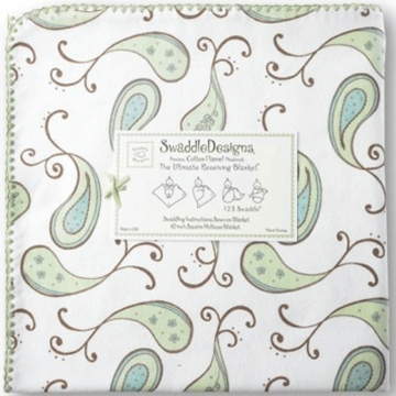 SwaddleDesigns Ultimate Receiving Blanket in Kiwi Paisleys