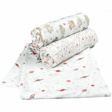 TLLCA Printed Muslin 4 Pack Swaddles - Space Man